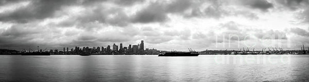 Black and White Panorama of Seattle Skyline Reflected on the Bay by PorqueNo Studios
