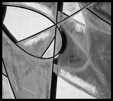 Black and White Pastel Abstract by Jennifer Stackpole