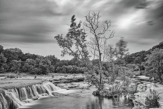 Black and White Photograph of Link Falls at Bull Creek District Park Greenbelt - Austin Texas by Silvio Ligutti