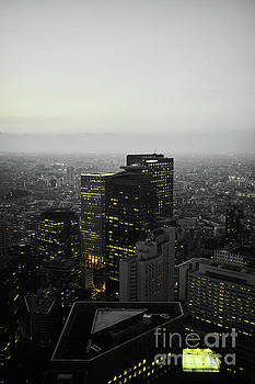 Black And White Tokyo Skyline At Night With Vibrant Selective Yellow Colors by Lukas Kerbs