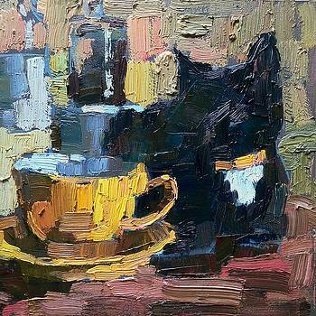 Black cat and yellow cup by Valerie Lazareva