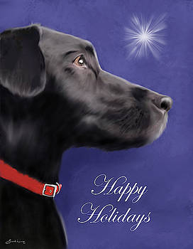 Black Labrador Retriever - Happy Holidays by Sannel Larson