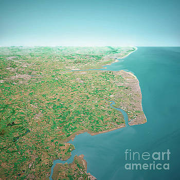 Frank Ramspott - Blackpool UK 3D Render Aerial Horizon View From North Jun 2018