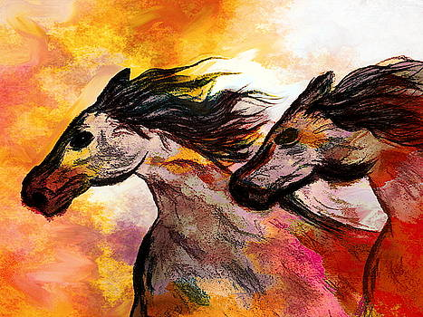 Blazing Wild Horses by Abstract Angel Artist Stephen K