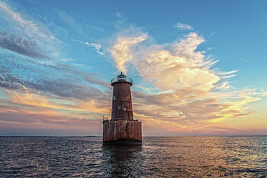 Bloody Point Bar Lighthouse at Dusk by Dale Hall