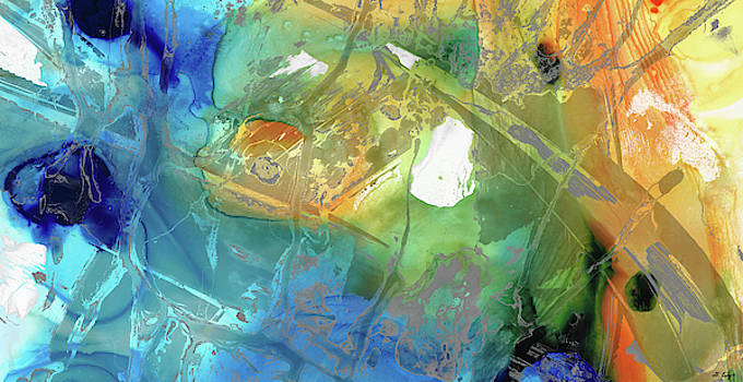 Blue and Orange Abstract Art - Color Menagerie - Sharon Cummings  by Sharon Cummings