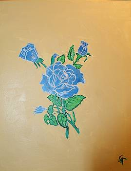 Blue and Silver Rose on Gold background by Yvonne Sewell