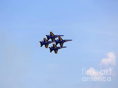Blue Angels in diamond formation at Cleveland Air Show 2018 by Louise Heusinkveld