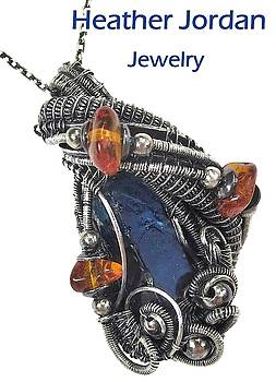 Blue Apatite Wire-Wrapped Pendant in Antiqued Sterling Silver with Baltic Amber by Heather Jordan