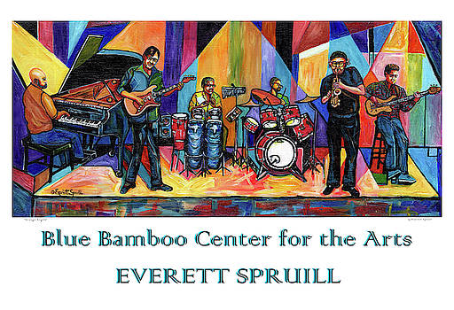 Blue Bamboo Center Poster by Everett Spruill