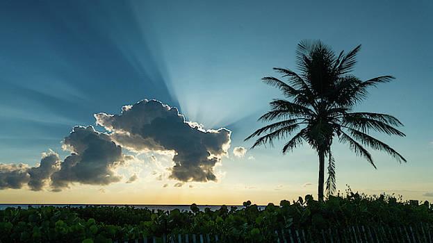 Blue Beam Sunrise Delray Beach Florida by Lawrence S Richardson Jr