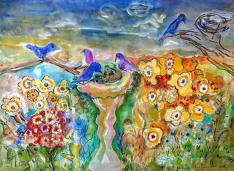 Blue Bird's Feast by Joyce Lieberman