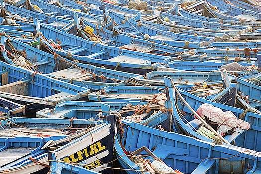 Blue Boats in Morocco by Nicole Young