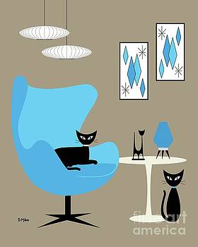 Blue Egg Chair with Cats by Donna Mibus