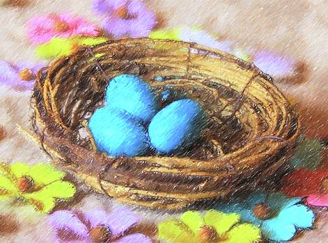 Cathy Lindsey - Blue Eggs In Nest 2