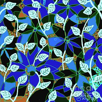 Caroline Street - Blue Flower White Leaf Design