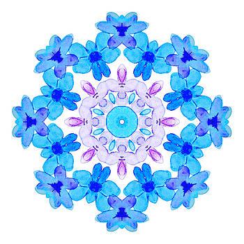 Blue Flowers Watercolor Mandala by Boriana Giormova