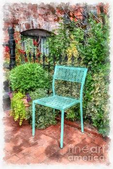 Blue Garden Chair Watercolor by Edward Fielding