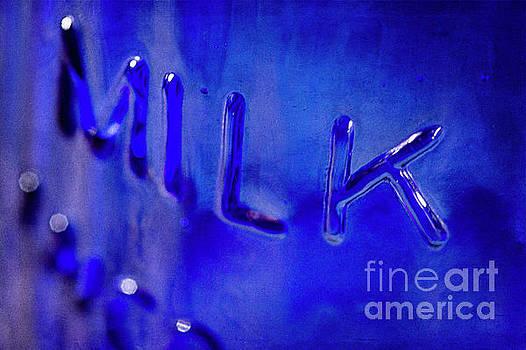 Blue Glass Milk Bottle 02 by Pamela Moran