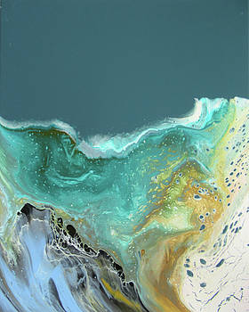 Blue Green and Gold Wave Fluid Painting  by Andrea Cofferen