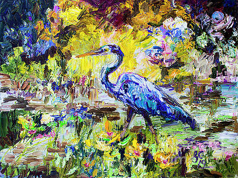 Ginette Callaway - Blue Heron Wetland Magic Palette Knife Oil Painting