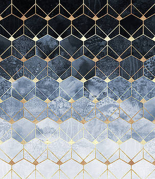 Blue Hexagons And Diamonds by Elisabeth Fredriksson