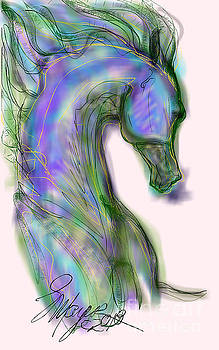 Blue Horse Painting by Stacey Mayer