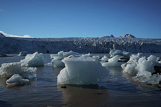 Blue icebergs floating along storm Arctic coast panorama by Kai Mueller