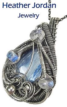 Blue Kyanite Wire-Wrapped Pendant in Antiqued Sterling Silver with Rainbow Moonstone by Heather Jordan