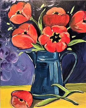 Blue Pitcher with Flowers by Roseann Amaranto