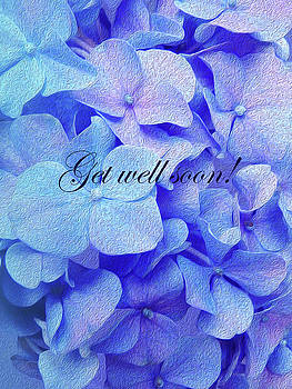 Blue Purple Hydrangea Get Well Soon by Johanna Hurmerinta