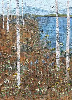 Blue Sky and Birches by Janyce Boynton