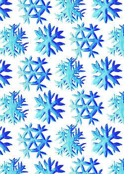 Blue Watercolor Snowflakes Pattern by Boriana Giormova