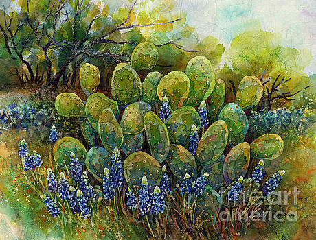 Bluebonnets and Cactus 2 by Hailey E Herrera