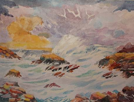 Blustering Clouds and Restless Sea by Al Brown