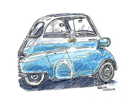 Frank Ramspott - BMW Isetta Classic Car Ink Drawing and Watercolor