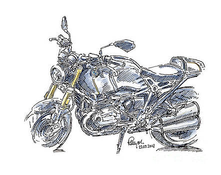 Frank Ramspott - BMW R NINE T Motorcycle Ink Drawing and Watercolor