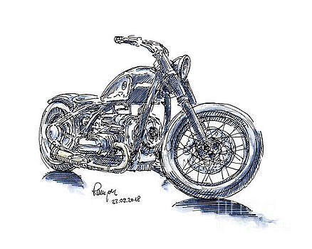 Frank Ramspott - BMW R5 Hommage Motorcycle Ink Drawing and Watercolor