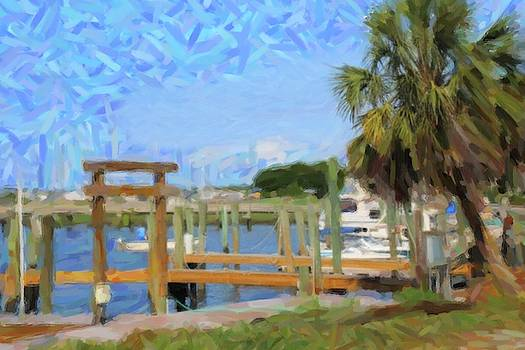 Boats And Palm Tree At Southport 2 by Cathy Lindsey