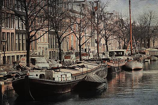 Jenny Rainbow - Boats at Amsterdam Canal. Vintage