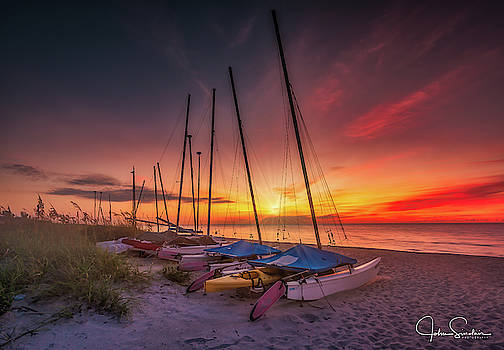 Boats By The Beach by John Sinclair
