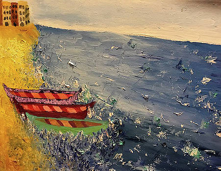 Boats in the Bay at Sunset by Susan Grunin
