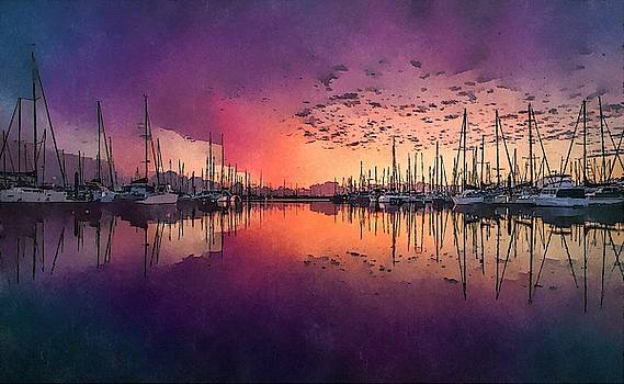 Boats in The Harbour by Alan Thompson