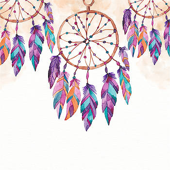Boho Dreamcatcher - Boho Chic Ethnic Nursery Art Poster Print by Dadada Shop