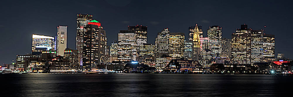 Toby McGuire - Boston lit up for Christmas Panorama Boston MA Boston Skyline