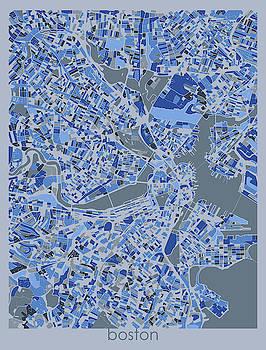 Boston Map Retro 5 by Bekim M