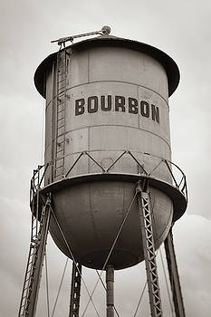 Bourbon Whiskey Old Water Tower - Sepia Monochrome by Gregory Ballos