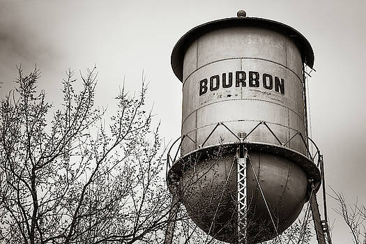 Bourbon Whiskey Vintage Sepia Water Tower by Gregory Ballos