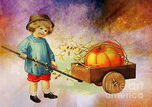 Boy With His Pumpkin Cart  by Tammera Malicki-Wong