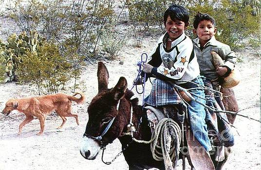 Boys Dog and Donkey on Way Home in Mexico. by Phyllis Kaltenbach
